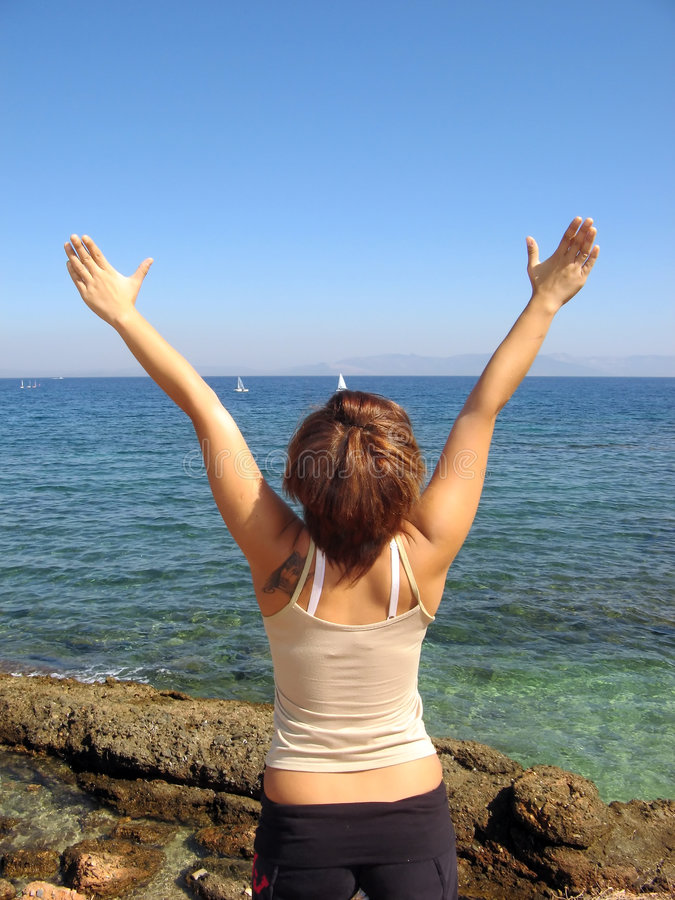 Download Free woman stock image. Image of water, back, freedom - 3330121