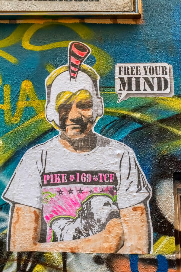 Free your mind graffiti stock photos