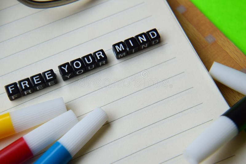 Free your mind message on education and motivation concepts stock photography