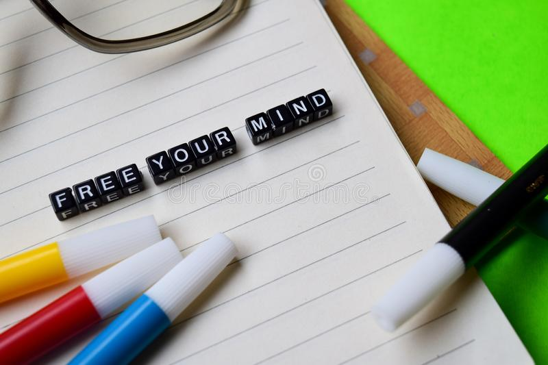 Free your mind message on education and motivation concepts stock images