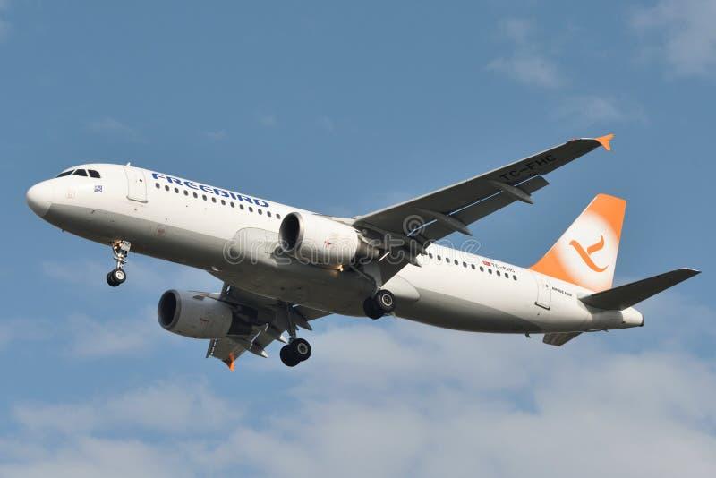 Freebird Airlines-Luchtbusa320 vliegtuig royalty-vrije stock foto