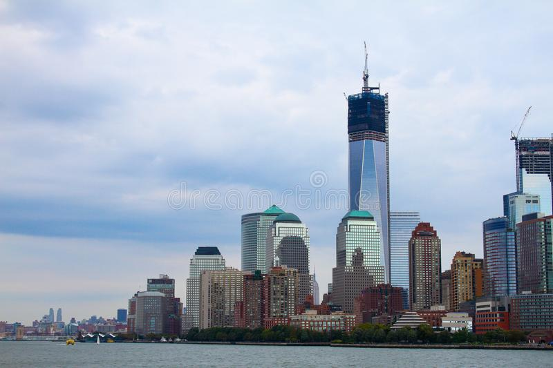 Construction of the Freedom Tower, Manhattan, NYC. stock photos