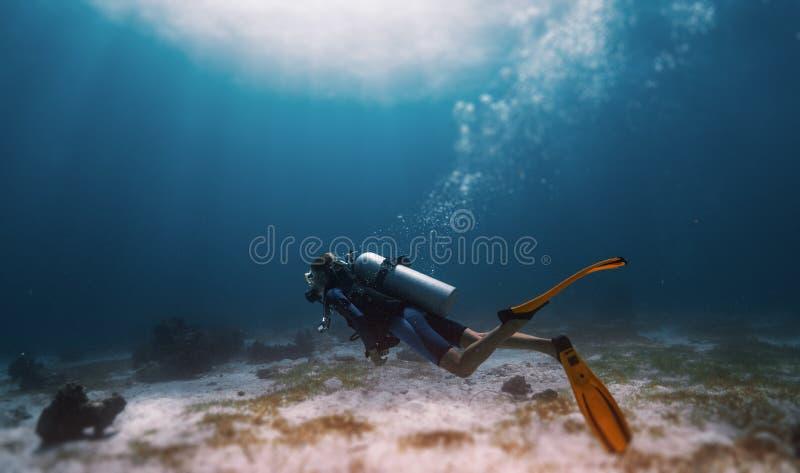 Freediver женщины стоковые изображения rf