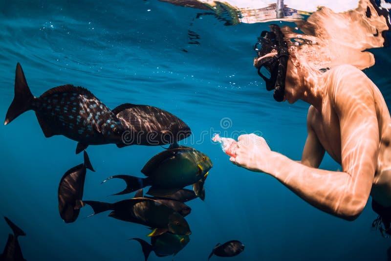Freediver-Mannschwimmen und Fütterungsfischschwarm im Meer lizenzfreies stockbild