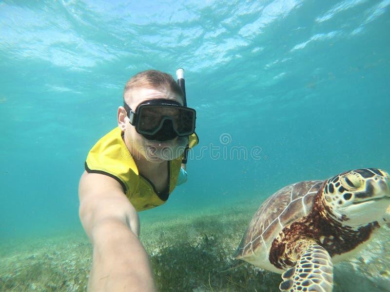 Freediver som tar selfie med sköldpaddan i det tropiska havet royaltyfri bild