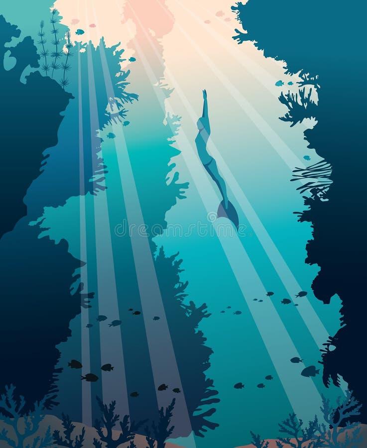 Apnea Diving Silhouette Stock Illustrations – 7 Apnea Diving