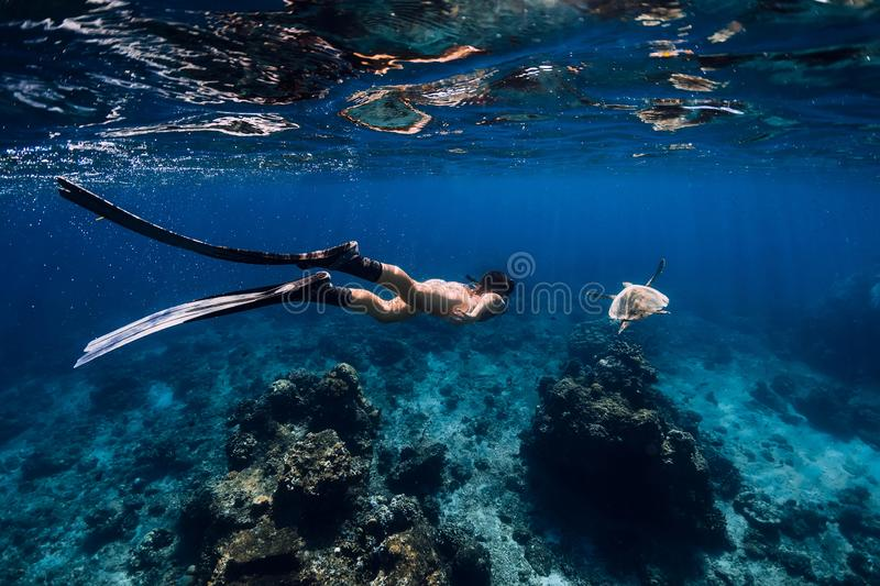 Freediver woman glides underwater ocean with fins and turtle royalty free stock photos