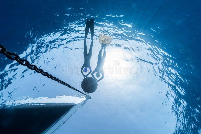 Freediving arkivfoto