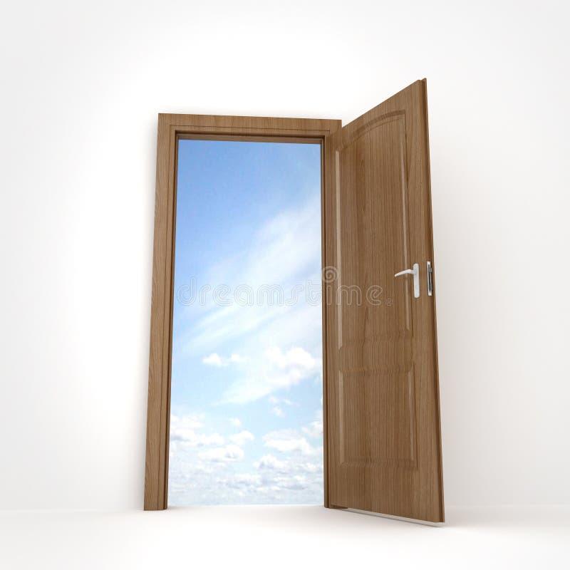 Freedom. High quality 3D rendering of door open stock illustration