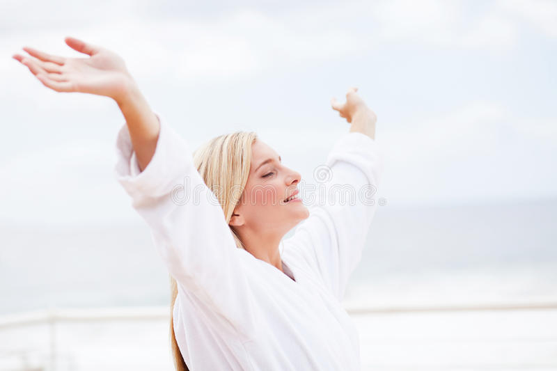 Download Freedom stock photo. Image of modern, freedom, arms, bathrobe - 23460610