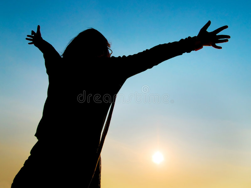 Freedom. Girl hoping to have the whole world to herself, embracing freedom concept royalty free stock photography