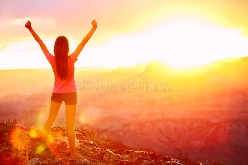 Freedom and adventure - woman happy, Grand Canyon stock images