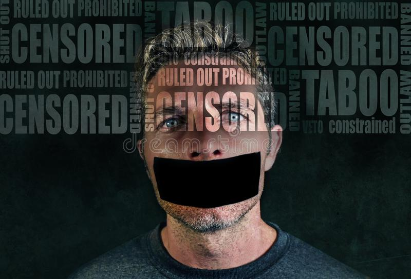 Freedom advertising composite with words like censored and taboo composed into face of young sad man with mouth sticky duct tape stock images