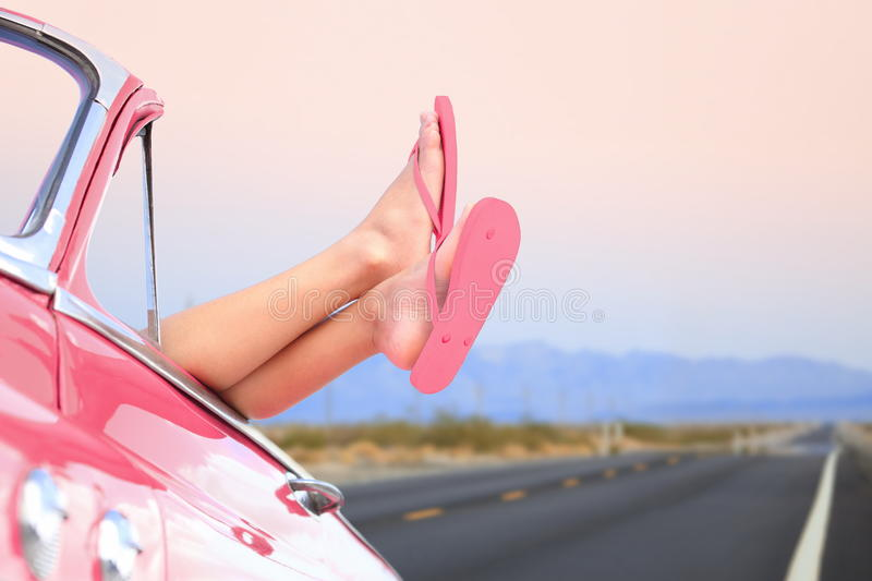 Freedom car travel concept - woman relaxing stock photos