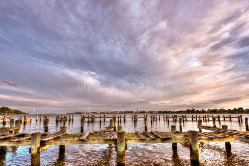 Freedom on the Chesapeake Bay. United States Naval Academy along the Severn river in Annapolis Maryland stock photo