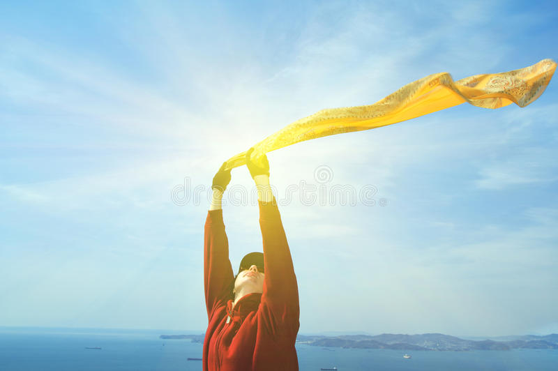 Freedom Concept.Beautiful Girl with Scarf stock photos