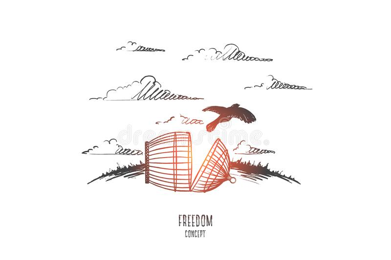 Freedom concept. Hand drawn vector. Freedom concept. Hand drawn bird escaping from the prison. Cell broken vector illustration vector illustration