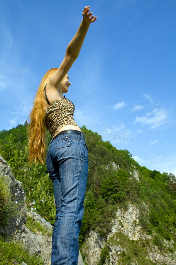 Freedom Concept - Happy Woman On Mountain High Royalty Free Stock Photos