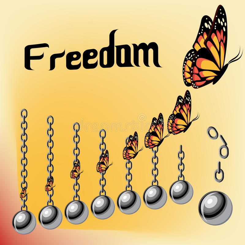 Freedom concept with iron broken chains and raising butterflies. vector illustration