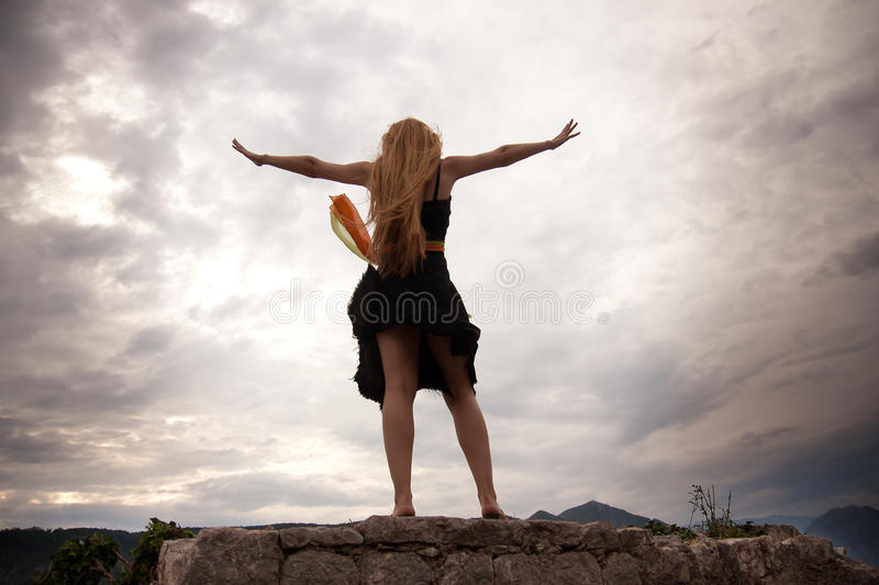 Download Freedom Concept - Woman On Mountain Peak Stock Image - Image: 18306777