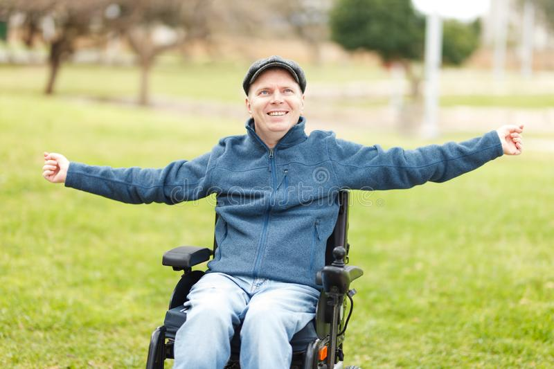 Freedom of disabled man stock image