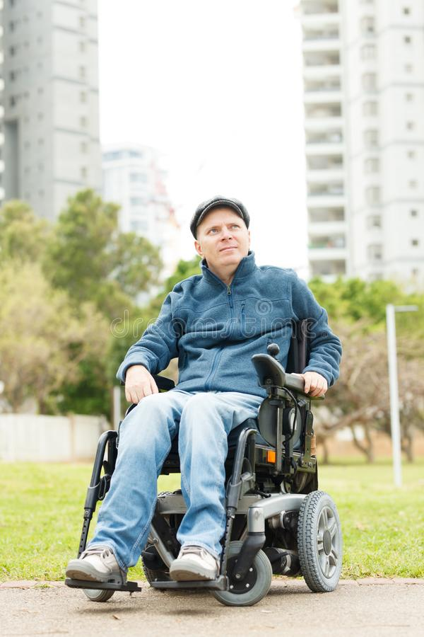 Freedom of disabled man stock photo