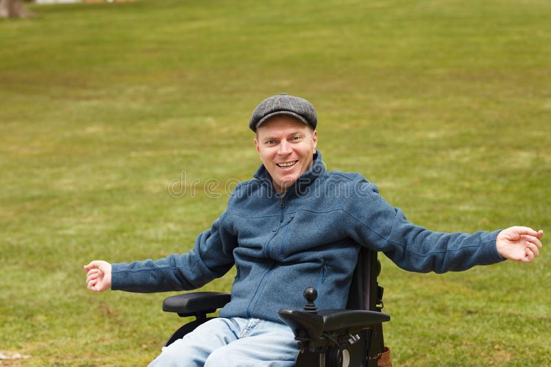 Freedom of disabled man royalty free stock images