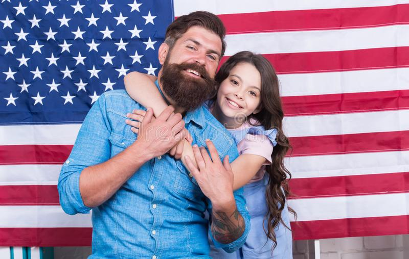 Freedom fundamental right. How do americans celebrate independence day. Independence is happiness. Independence day. Holiday. Father american bearded hipster royalty free stock photos