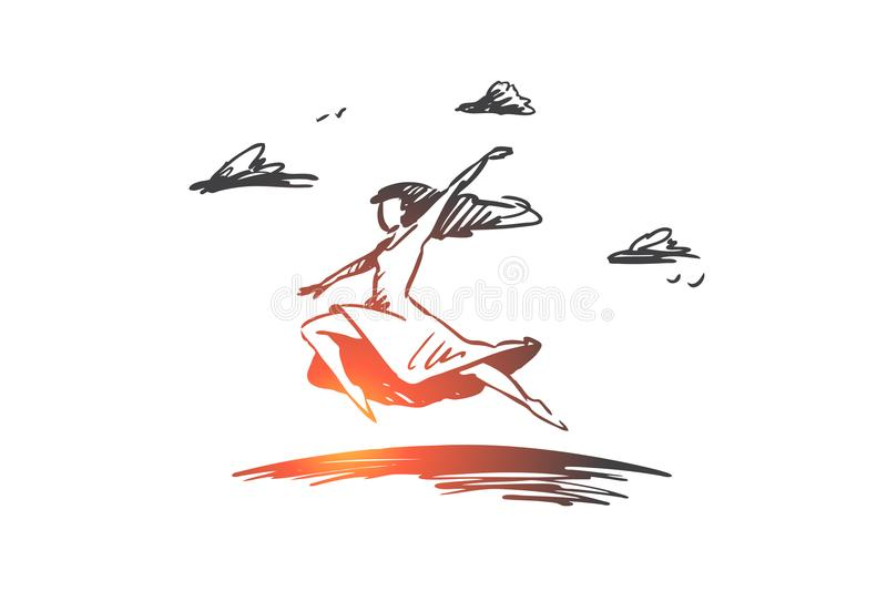 Freedom, happiness, woman, fly, love concept. Hand drawn isolated vector. stock illustration