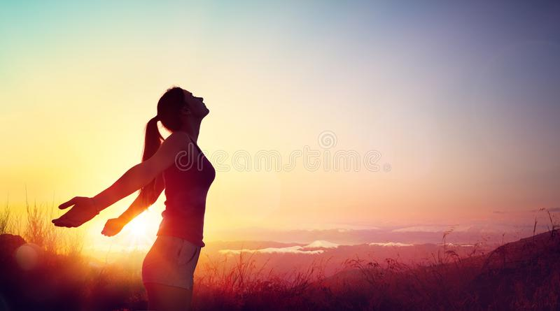 Freedom And Healthy Concept - Beautiful Young Girl stock images
