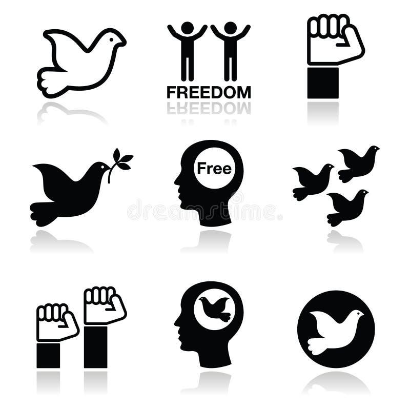 Download Freedom Icons Set - Dove And Fist Symbols Stock Illustration - Illustration: 42854564