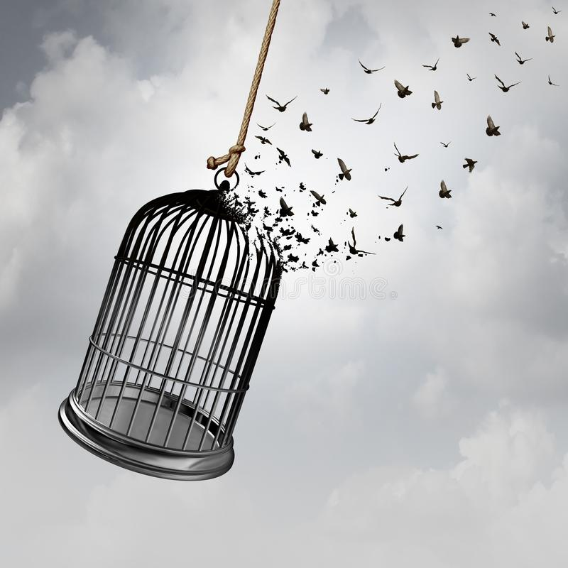 Freedom Idea Concept. Freedom idea with a birdcage turning into flying birds as a captivity abstract concept with 3D rendering elements stock illustration