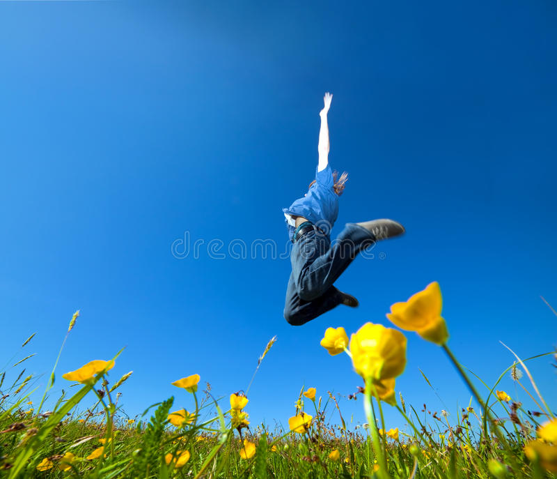 Download Freedom jump on the field stock image. Image of lifestyle - 20226709