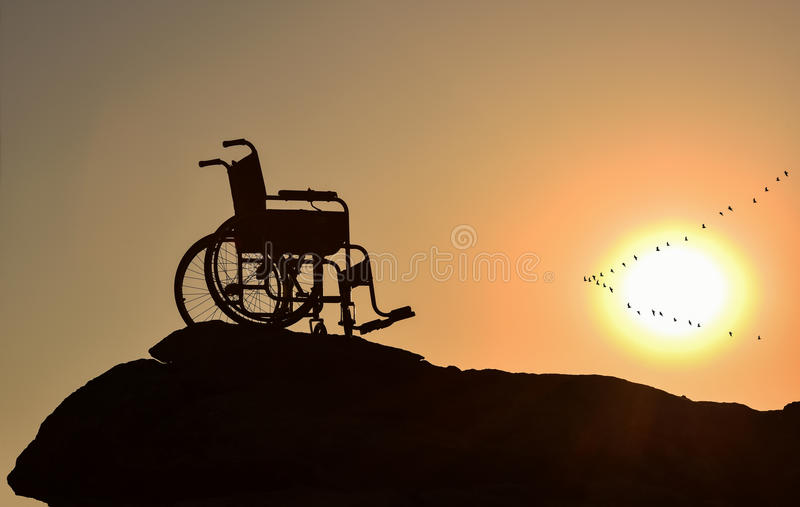 Freedom & loneliness & disabilities & disabled stock image