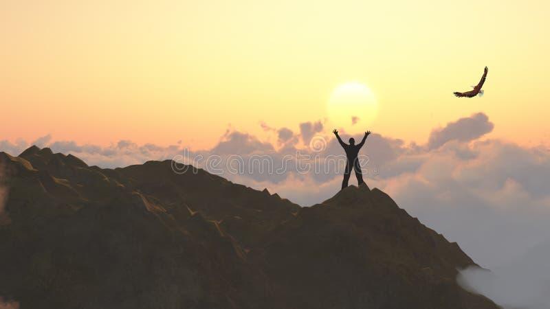 Freedom - Man on a mountain peak royalty free stock photos