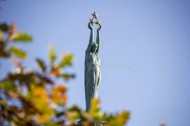 Latvia: Freedom Monument of Riga royalty free stock photo