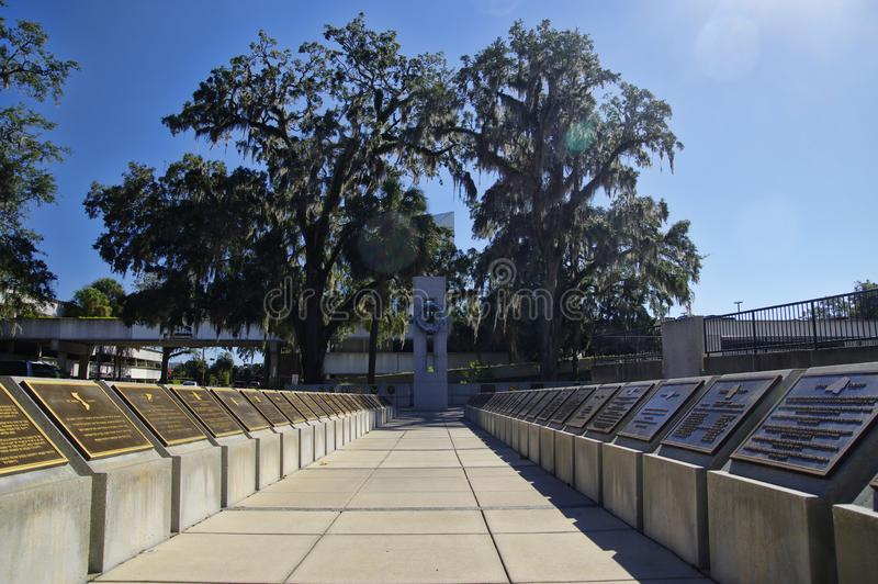 The freedom monument in opposite of Museum of Florida History, Tallahasse. Tallahassee, USA - October 24, 2017: The freedom monument in opposite of Museum of stock images