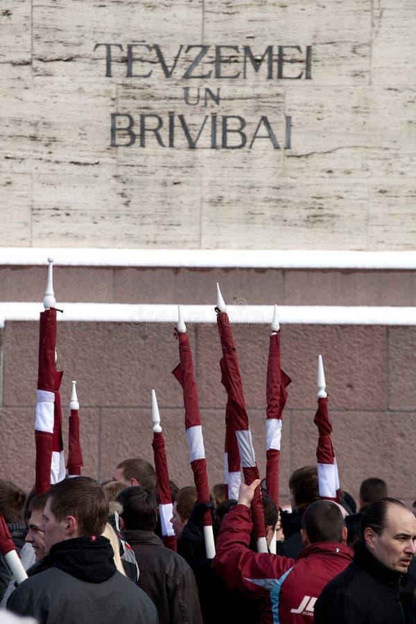 Freedom monument in Riga stock image