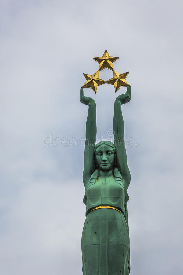 Freedom monument in Riga, Latvia, national symbol of independenc. E stock photos