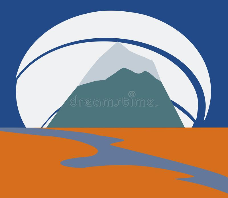 The freedom, mountain landscape with a river vector illustration