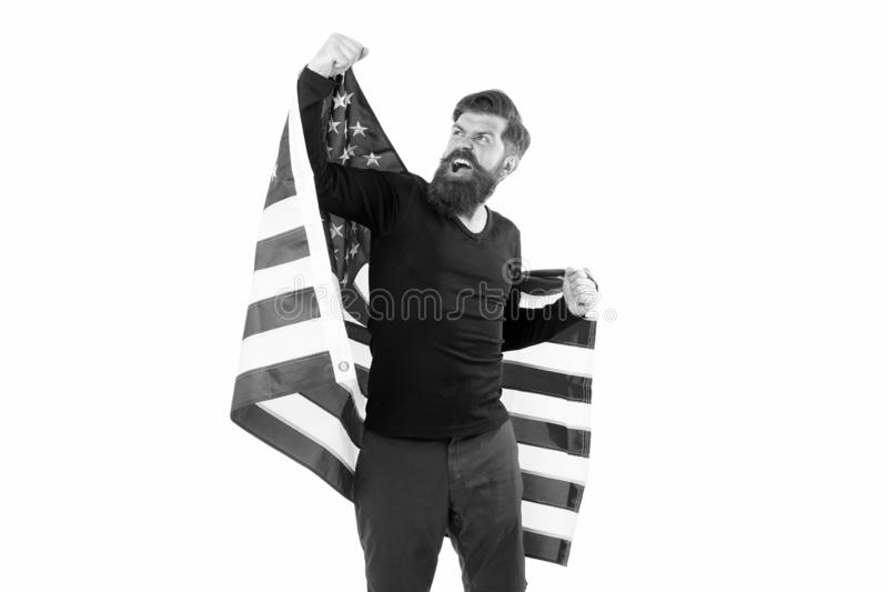 Freedom is nothing but a chance to be free. Happy bearded man holding american flag on independence day. Free expression. Of patriotism on July 4th. Free stock photography