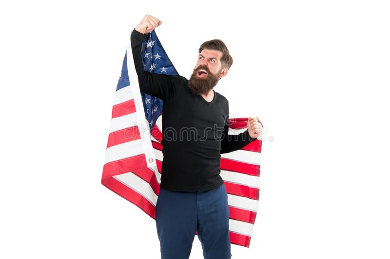 Freedom is nothing but a chance to be free. Happy bearded man holding american flag on independence day. Free expression. Of patriotism on July 4th. Free royalty free stock images