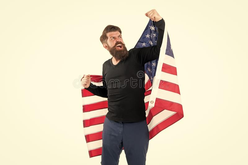 Freedom is nothing but a chance to be free. Happy bearded man holding american flag on independence day. Free expression. Of patriotism on July 4th. Free royalty free stock photos