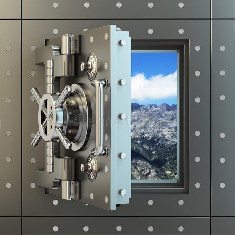Freedom. Opening vault door and sky behind it. stock illustration