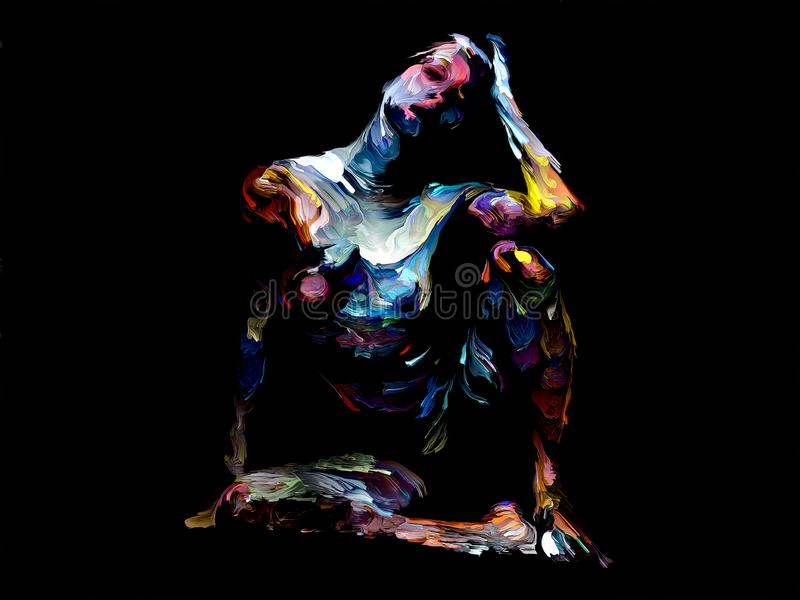 Colorful Abstract Female Figure Study stock illustration