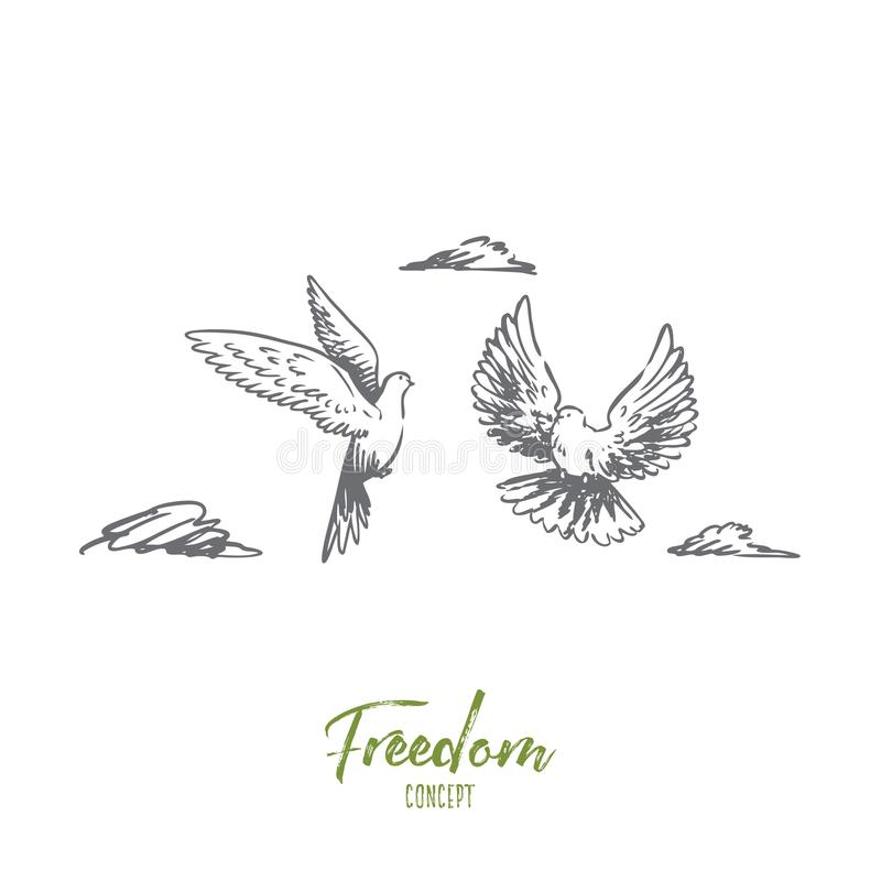 Freedom, peace, couple, flight, birds concept. Hand drawn isolated vector. stock illustration