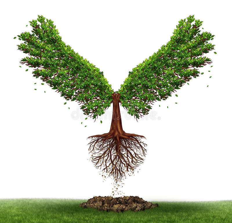 Freedom potential. And the power of determination as a business and life concept with a green tree growing open wings and flying off to success as a metaphor royalty free illustration