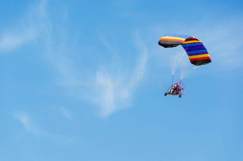 The freedom in powered Paraglider stock photography