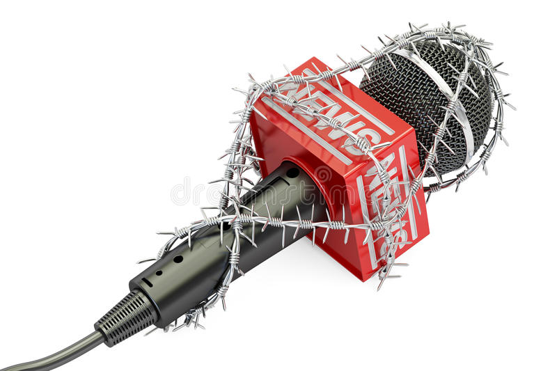 Freedom of press prohibition concept. Microphone with barbed wire, 3D rendering. On white background royalty free illustration