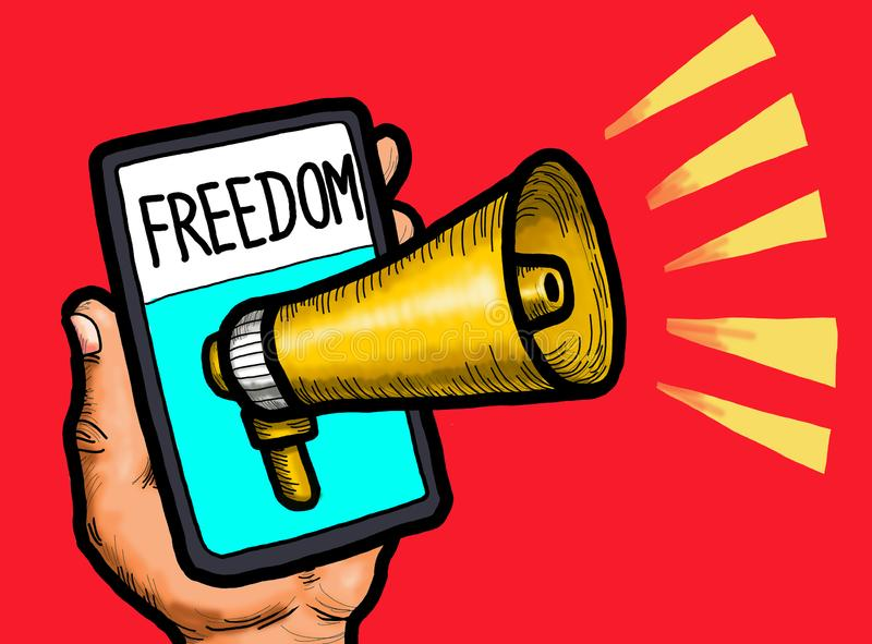 Freedom of Speech Internet. A Freedom of speech on the internet social media network mobile phone device royalty free illustration